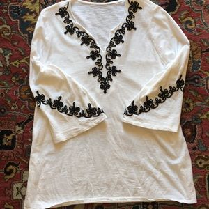 Chico's white knit top with black embroidery